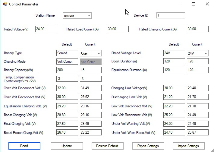 EPEVER Tracer Lithium Settings